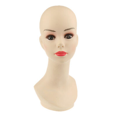 PVC Female Mannequin Manikin Head Bust for Wig Hat Necklace Jewelry Display