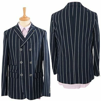Gabicci Vintage Mens Navy Blue Striped Jacket Button Up Designer Smart Blazer