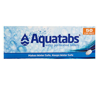 AQUATABS Water Purification Tablets (50 tablets) Drink Clear Aqua Safe Outdoors
