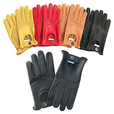 Mens real soft leather slim fit retro style dress fashion driving gloves 508