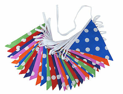 Double Sided Polka Dot Fabric Bunting Rock and Roll Party or Summer Fair