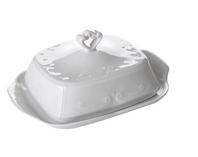 Porcelain Butter Dish White Classic 19x14 cm Storage Tray Vintage Ceramic Lovely
