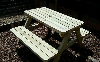 Heavy Duty, 4 Seat, Pressure Treated Patio Picnic Table, Pub Garden Bench,