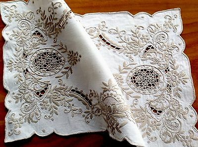 Beautiful Vintage Off White Linen Taupe Silk Hand Embroidery Table Centre Cloth