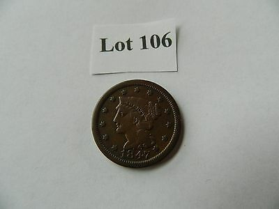 1847 1C Braided Hair Large Cent - Fine (F) (Lot #106)