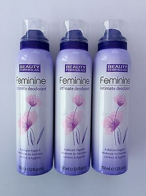 3 x Beauty Formulas Feminine Intimate Deodorant - 150ml Each