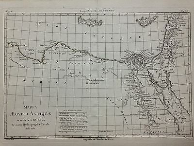 Egypt North Africa Cyprus Creete Dated 1780 Bonne Original Copper Engraved Map