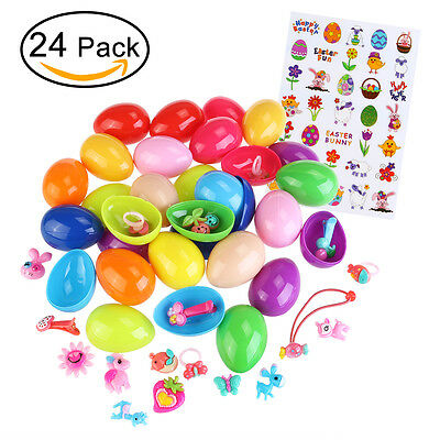 BESTOYARD 24*Toy Filled Easter Eggs &24pcs Gifts & 1pcs Child DIY Sticker Set