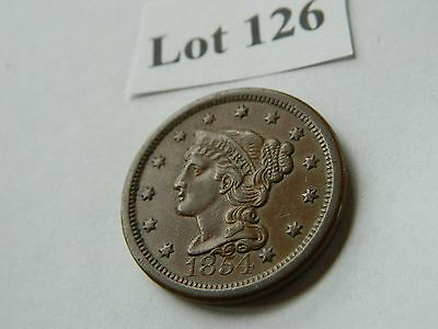 1854 1C BN Braided Hair Cent - Extra Fine (XF) (Lot #126)