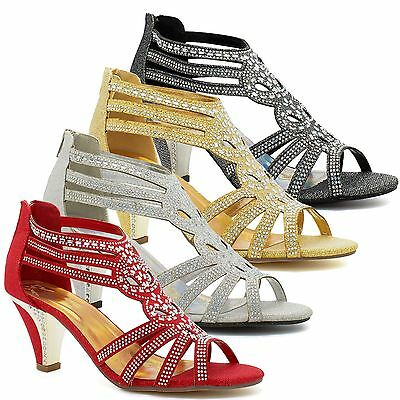 New Ladies Diamante Mid Kitten Heel Womens Bridal Wedding Sandals Party Prom UK