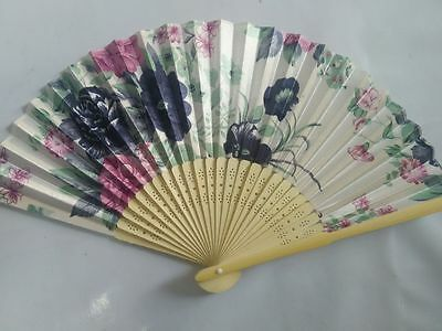 New blue Folding Hand Fan Silk Flower pattern Fan Wedding Party Gift