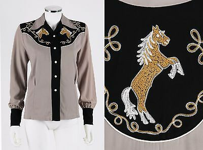 Vtg SMARTEE TOGS OF TEXAS c1940's Gaberdine Embroidered Horse Western Shirt Top