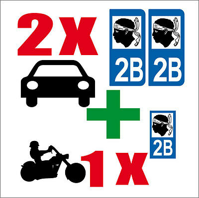 LOT 3 STICKERS 2 x AUTO+1 x MOTO STYLE PLAQUE IMMATRICULATION CORSE 2B