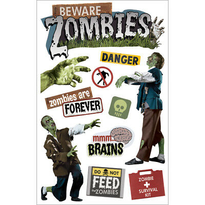 "Paper House 3D Stickers 4.5""x8.5"" Beware Zombies STDM163E"