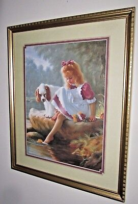 "Home Interiors Gifts 17 1/2"" X 21 1/2'' Girl Picture With Cocker Spaniel Dog"
