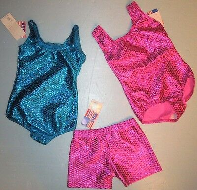 NWT Bal Togs 3 Piece Lot Blue and Pink Scale Leotard Shorts Child Int 6x 7 187