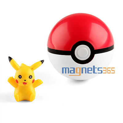 Pokemon Pokeball Pop-up 7cm Plastic BALL Toy Action Figure+ Free Pikachu Monster
