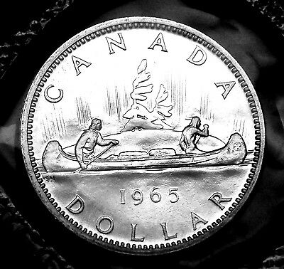 1965 Canadian silver $1 coin:  gorgeous prooflike in original mint plio