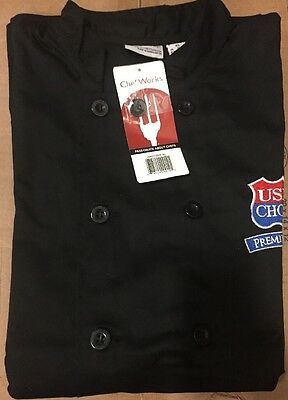Chef Works New Black Culinary Chef Coat Jacket XL  NWT long sleeve