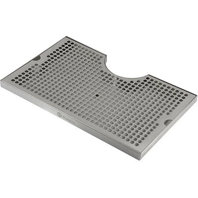 """Kegco SECO-1610D 16"""" x 10"""" Surface Mount Drip Tray - 3"""" Column Cut-Out - SS,"""