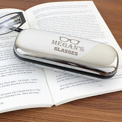 Personalised Engraved Reading Glasses Cases / Chrome Plated Hard Case Gift Idea