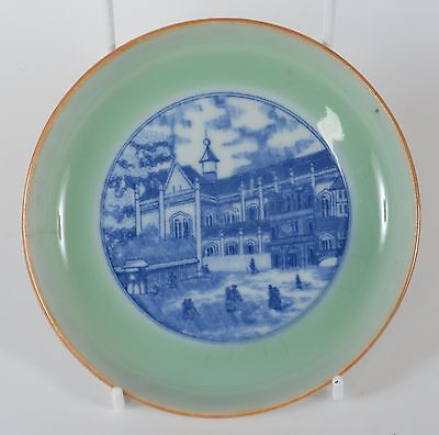 Antique Chinese Porcelain Plate Celadon Blue White Church European Subjects Qing