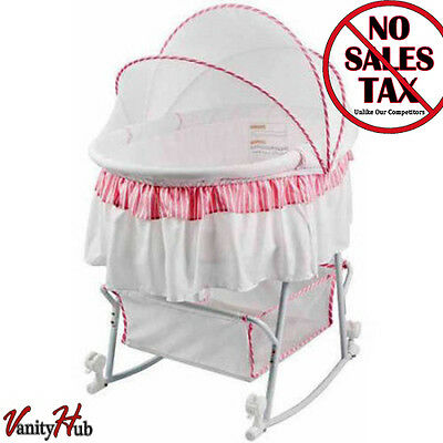Portable Baby Infant Bassinet Cradle Rocking Canopy Nursery Bed Furniture