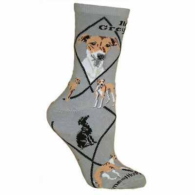 Italian Greyhound Dog Breed Gray Lightweight Stretch Cotton Adult Socks