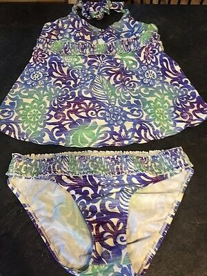 Motherhood Maternity Blue Green Purple Tankini Two Piece Swim Suit Size M