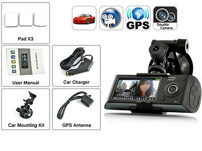 "Dual Camera Car DVR with GPS and 3D G-Sensor 2.7"" TFT LCD X3000 Cam Digital Zoom"
