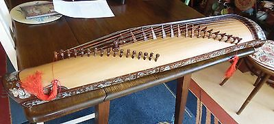 Vintage Dan Tranh 17 String Vietnamese Harp/Koto With Case Elaborate Inlay Exqui