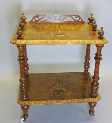 19th C. Dutch Two-Tier Burlwood & Marquetry Book Table c. 1870  canturbury