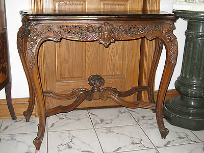 ANTIQUE FRENCH WALNUT CARVED TABLE WITH PIERCED CARVINGS ca.1920s