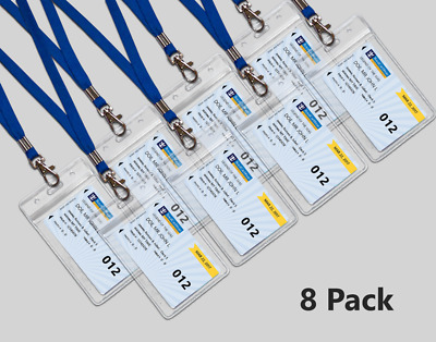 8 Clear Royal Caribbean Cruise Lines I.D. Holders & Lanyards NEW AND REUSABLE