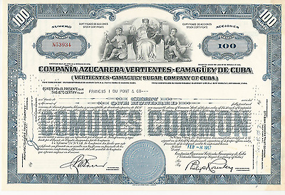 1957 VERTIENTES CAMAGUEY SUGAR COMPANY Stock Certificate * Pays cancer bills