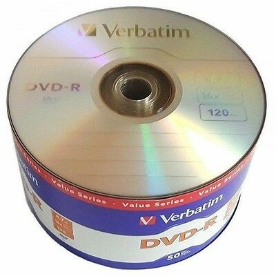Verbatim Blank DVD-R DVDR Logo Branded 16X 4.7GB 120min Recordable Media Disc