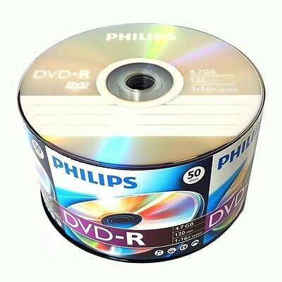 Philips Blank DVD-R DVDR Logo Branded 16X 4.7GB 120min Recordable Media Disc