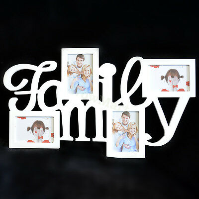 """Home Decor Wooden Wall Mounted 4 Photo Picture Frame """"Family"""" 68x40cm"""