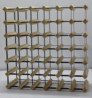 42 Bottle (6 x 6) Timber Wine Rack - NATURAL PINE - Free Postage Australia Wide