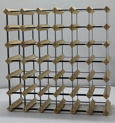 42 Bottle Timber Wine Rack - NATURAL PINE - Free Postage Australia Wide