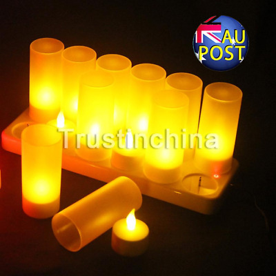 Au 12 Rechargeable Flickering Led Tea Lights Candles With Holders Dinner Wedding