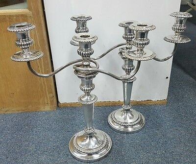 Pair Of Silver Candelabras Candlestick Holders