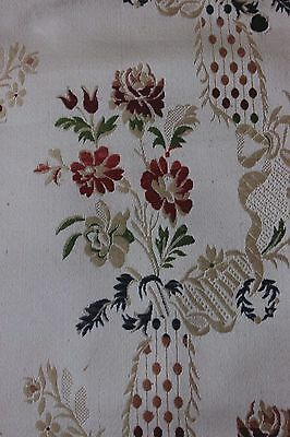 Antique Early 20thC French Lyon Silk Brocaded Lampas Fabric~Roses & Ribbons