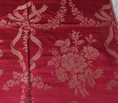 Antique 19thC French Lyon Silk Home Dec Sample Fabric~Roses & Ribbons c1880