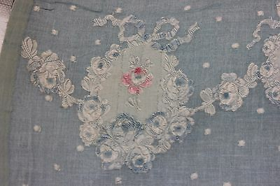 Antique 19thC French Pink Roses & Bows On Pale Blue Silk & Wool Fabric~Dolls