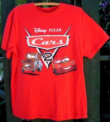 DISNEY PIXAR Cars 2 Size MEN's (M) Red COTTON T-SHIRT S/Sleeves MOVIE Novelty VG