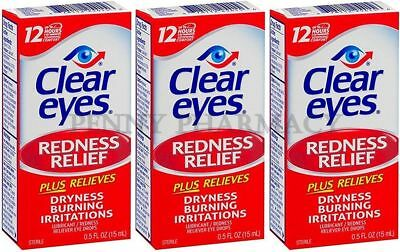 Clear Eyes Drops REDNESS RELIEF 0.50 oz ( 3 pack )  PHARMACY FRESH ***