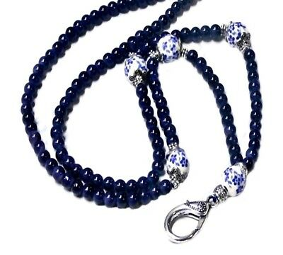 Cord Lanyard necklace work ID badge holder, key finder Dark Navy Blue Porcelain