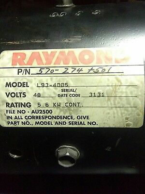 Raymond forklift MOTOR 48 VOLT DC 5.6 kW count has less than 3,000 hours on it