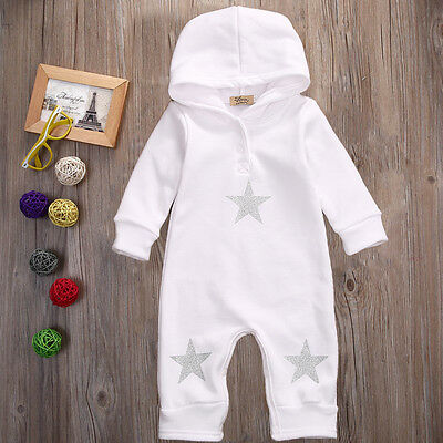 Toddler Infant Baby Boys Girls Romper Hooded Jumpsuit Bodysuit Clothes Outfits
